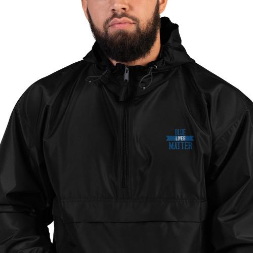 Blue Lives Matter Embroidered Champion Packable Jacket
