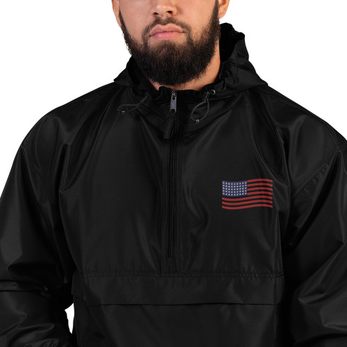 American Flag Embroidered Champion Packable Jacket