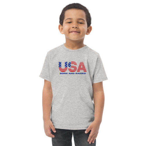USA Born and Raised Toddler jersey t-shirt