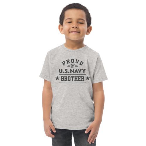 Proud Navy Brother Toddler jersey t-shirt