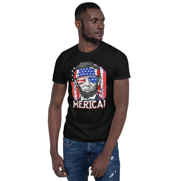 Merica! Lincoln Short-Sleeve Unisex T-Shirt