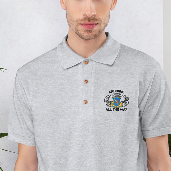 504 Airborne All the Way Embroidered Polo Shirt