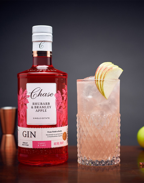 Chase Rhubarb & Bramley Apple Gin paired perfectly as a G&T with lots of ice, a premium tonic and an apple garnish