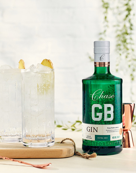 Chase GB Gin 70cl served in a gin glass with plenty of ice and a slice of lemon