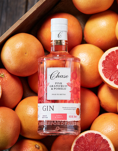 Chase Pink Grapefruit & Pomelo Gin, 70cl in wooden crate of fresh pink grapefruits