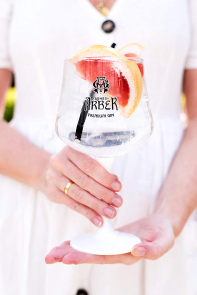 Agnes Arber Rhubarb Gin, 70CL. Served in balloon gin glass