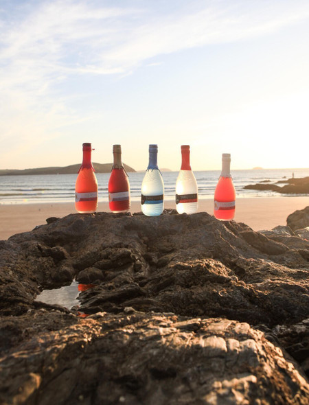 Tarquin's gin selection by the beach at sunset