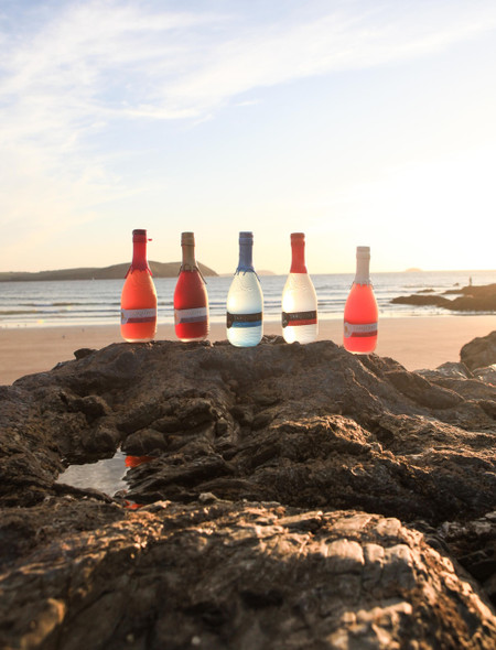 TARQUIN'S PINK GRAPEFRUIT & ELDERFLOWER DRY GIN, 70cl. Tarquin's gin selection by the beach at sunset