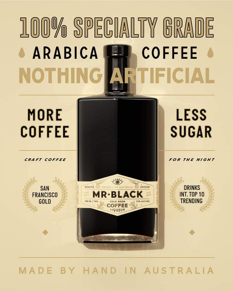 Mr Black Cold Brew Coffee Liqueur, Smooth, Rich Coffee Taste, Not So Sweet, 70cl unique quality