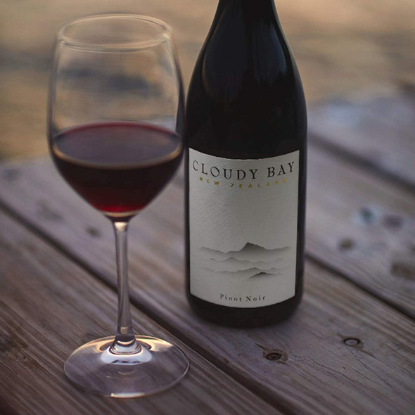 Cloudy Bay Marlborough Pinot Noir 2018, 75cl poured in wine glass