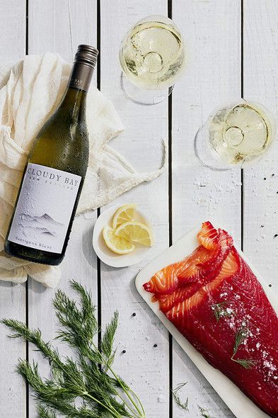 Cloudy Bay Sauvignon Blanc 2019, 75cl serving suggestion smoked salmon