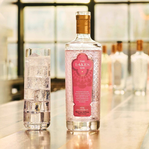The Lakes Pink Grapefruit Gin, 70cl serving suggestion, perfectly served
