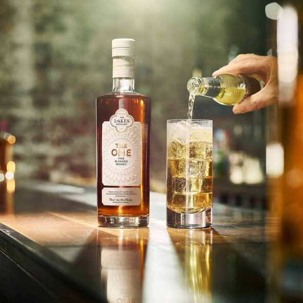 The Lakes Distillery The One Fine Blended Whisky, 70cl, served with Fever-Tree Ginger Ale