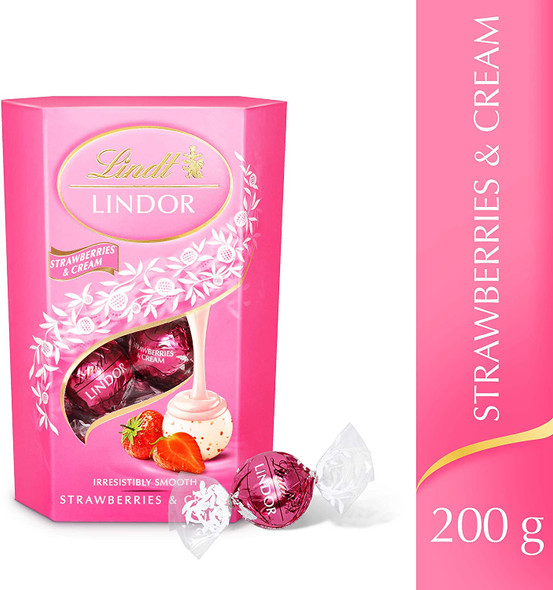 Lindt Lindor Strawberries & Cream Chocolate Truffles, 200g, front of pack