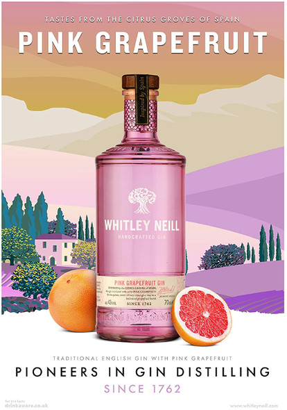 Whitley Neill Pink Grapefruit Gin, 70cl natural ingredients
