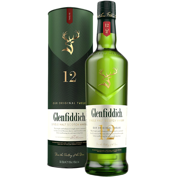 Glenfiddich 12 Year Old Single Malt Scotch Whisky with Gift Box, 70cl