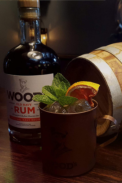 Woods Old Navy Rum, 70cl cocktail in tin mug