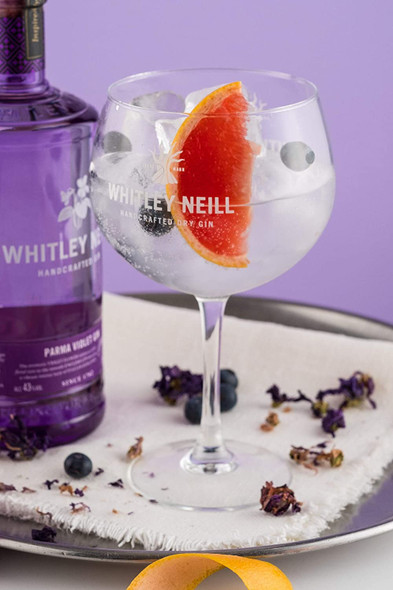 Whitley Neill Parma Violet Gin, 70cl served with a wedge of grapefruit