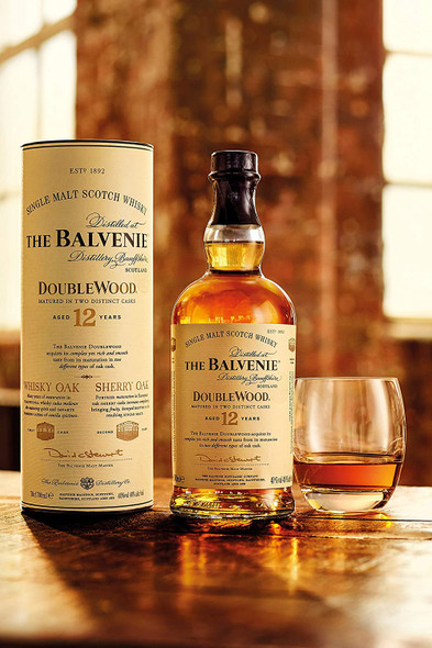 The Balvenie Double Wood 12 Year Old Single Malt Scotch Whisky, 70cl served in whisky glass