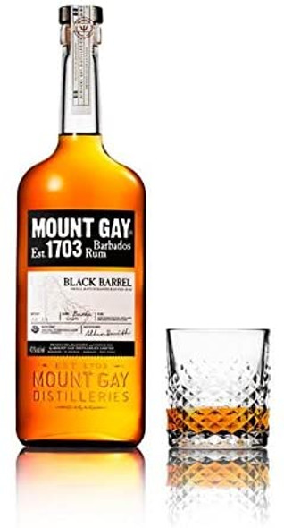 Mount Gay Black Barrel Small Batch Rum, 70cl served neat in tumbler