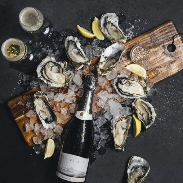 Cloudy Bay Pelorus Brut NV, 75cl food pairing with oysters