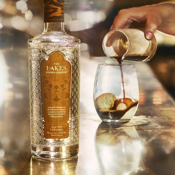 The Lakes Salted Caramel Vodka Liqueur, 70cl serving suggestion over ice cream