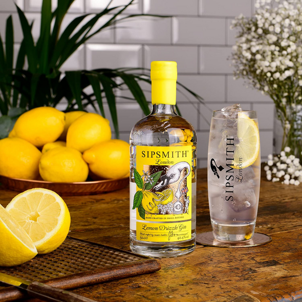 Sipsmith Lemon Drizzle Gin, 50cl served with tonic water
