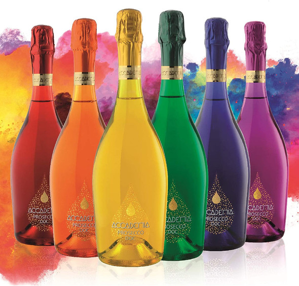Bottega SpA Accademia Rainbow Prosecco DOC BRUT, Limited Edition (Case of 6 x 75cl) perfect for any celebration