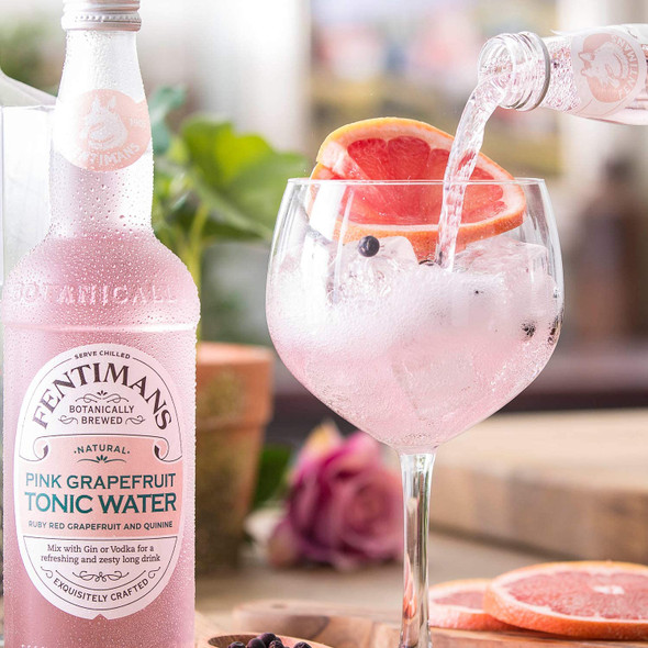 Fentimans Pink Grapefruit Tonic Water, Case of 10 x 125ml served in a copa glass