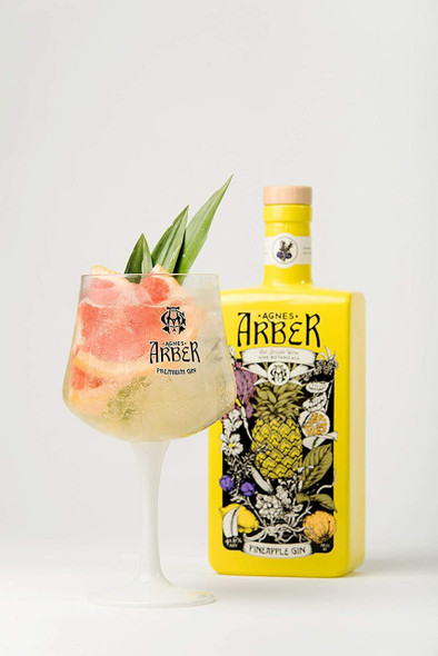 Agnes Arber Pineapple Gin, 70cl with Gin Glass - Limited Edition Set. Served in a gin balloon glass