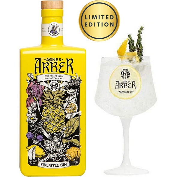 Agnes Arber Pineapple Gin, 70cl with Gin Glass - Limited Edition Set