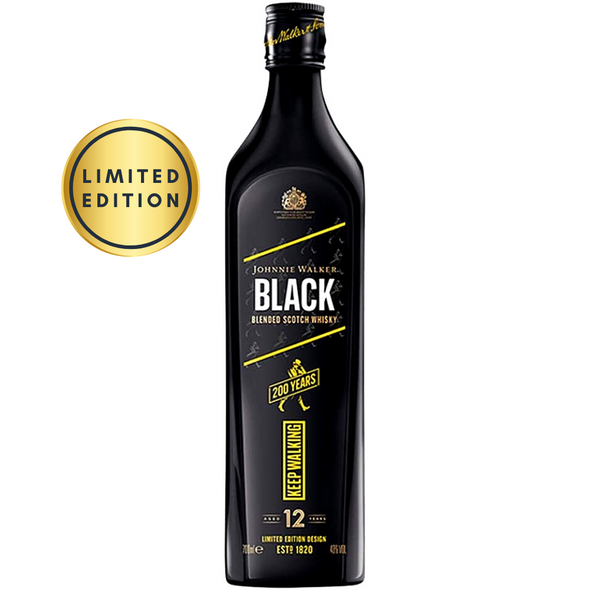 Johnnie Walker Black 12 Year Old Blended Scotch Whisky, 70cl - Limited Edition