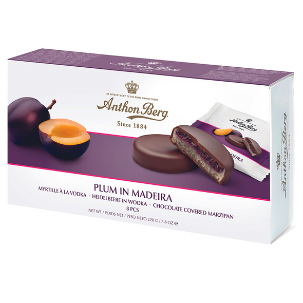 Anthon Berg Fruit and Liqueur Chocolate Covered Marzipan, 220g - Plum in Medeira