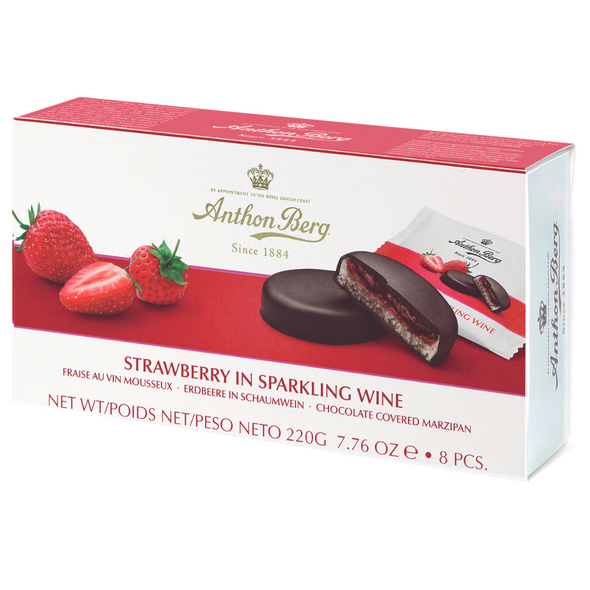 Anthon Berg Fruit and Liqueur Chocolate Covered Marzipan, 220g - Strawberry in Sparkling Wine