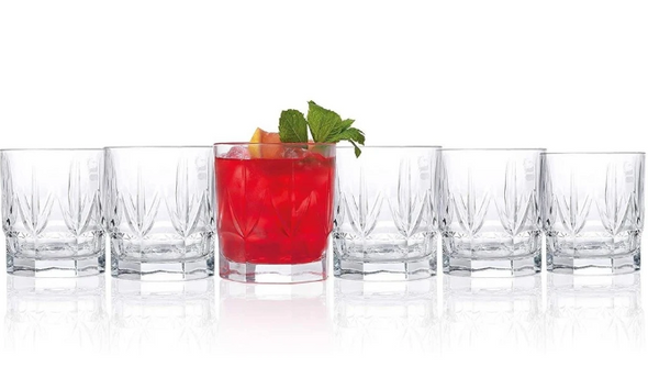 Chic Luxion Crystal Short Tumbler Glasses 430ml, Set of 6 - fine Italian style
