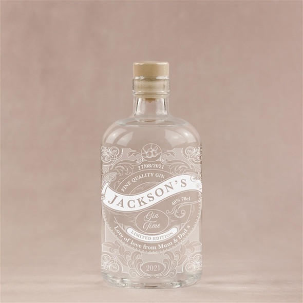 Personalised 'Gin Time' Engraved Bottle of English Gin, 70cl