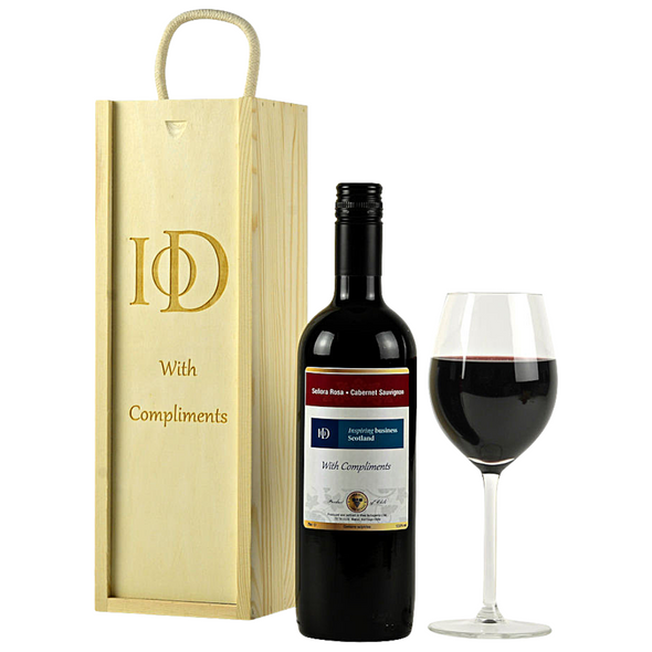 Personalised Red Wine and Engraved Wooden Gift Box