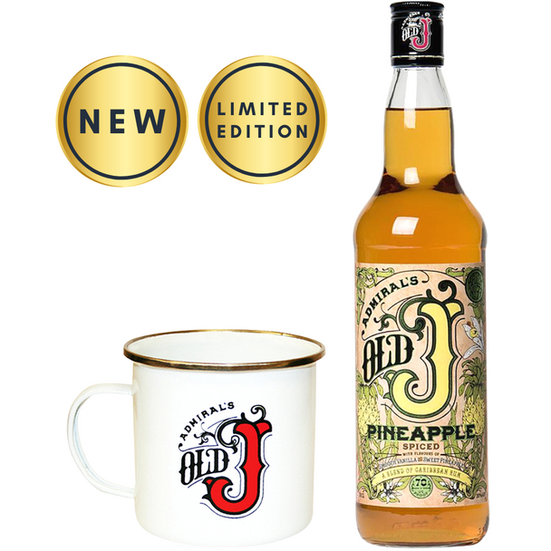 Old J Pineapple Spiced Rum, 70cl & Tin Mug - New Limited Edition Set
