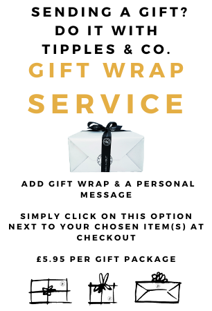 Sending a gift? Do it with Tipples And Company Gift Wrap Service. Add gift wrap and a personal message. Simply click on this option next to your chosen item(s) at 'Checkout' and we will make sure upon arrival it will bring a smile!