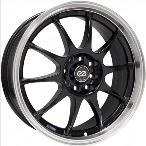 Enkei 409-565-03BK J10 15X6.5 38mm Offset 5X108 5X115 72.62 Matte Black w/ Machined Lip Wheel