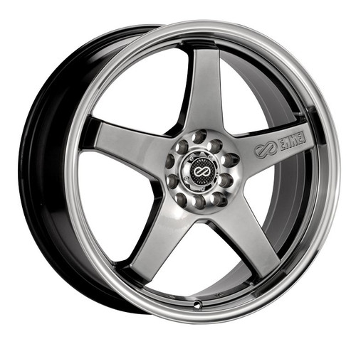 Enkei 446-770-0138HB EV5 Hyper Black with Machined Lip Performance Wheel 17x7 4x100 4x114.3 38mm Off