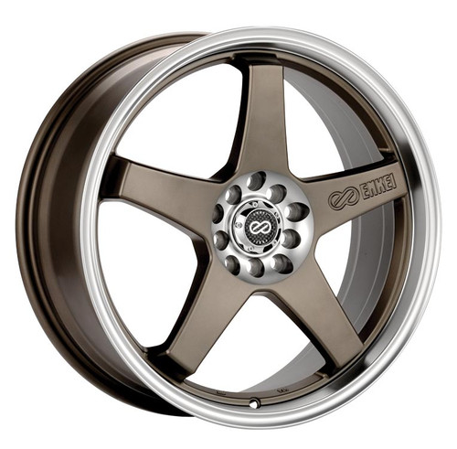 Enkei 446-770-0145ZP EV5 Matte Bronze with Machined Lip Performance Wheel 17x7 4x100 4x114.3 45mm Of