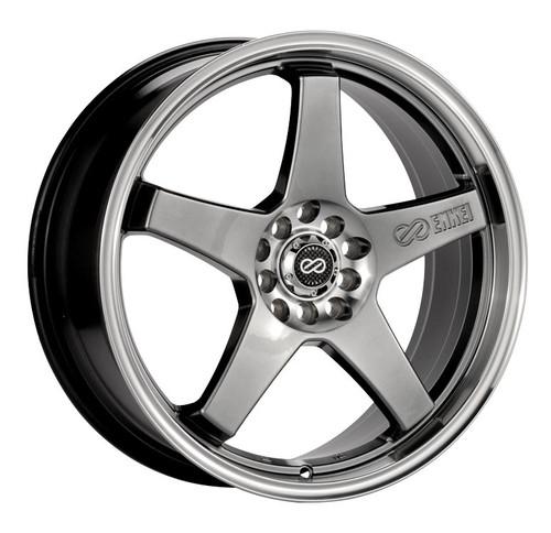 Enkei 446-770-5238HB EV5 Hyper Black with Machined Lip Performance Wheel 17x7 5x105 5x110 38mm Offse