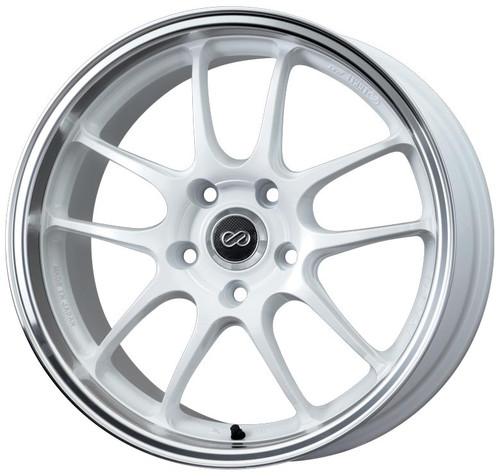 Enkei 460-780-6550WM PF01 White with Machined Lip Racing Wheel 17x8 5x114.3 50mm Offset 75mm Bore