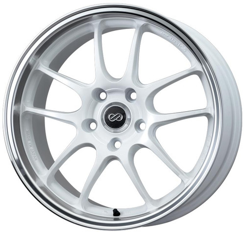 Enkei 460-790-6560WM PF01 White with Machined Lip Racing Wheel 17x9 5x114.3 60mm Offset 75mm Bore
