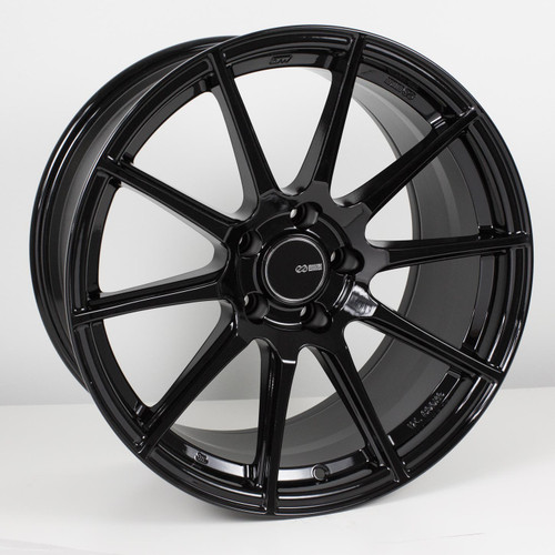 Enkei 499-8105-6525BK TS10 Gloss Black Tuning Wheel 18x10.5 5x114.3 25mm Offset 72.6mm Bore