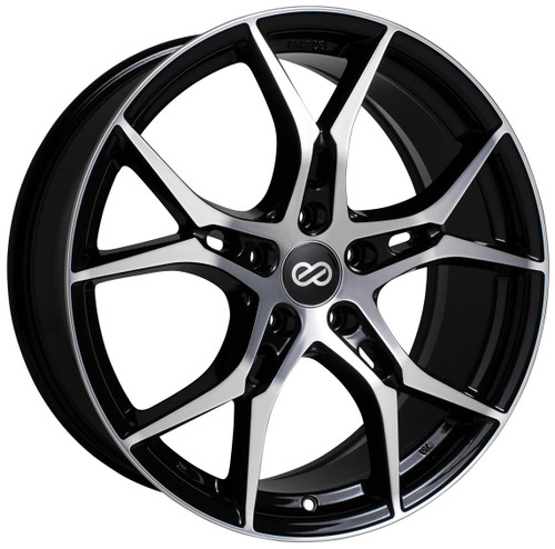 Enkei 517-880-1240BKM Vulcan Black Machined Performance Wheel 18x8 5x120 40mm Offset 72.6mm Bore