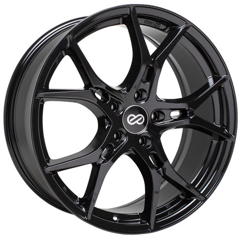 Enkei 517-880-6535BK Vulcan Gloss Black Full Paint Performance Wheel 18x8 5x114.3 35mm Offset 72.6mm