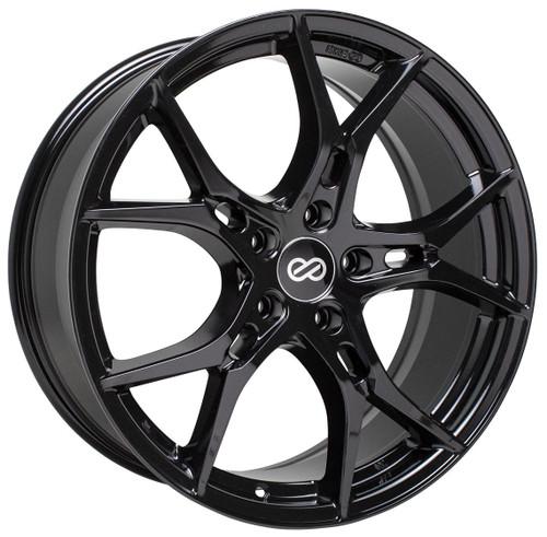 Enkei 517-980-4445BK Vulcan Gloss Black Full Paint Performance Wheel 19x8 5x112 45mm Offset 72.6mm B