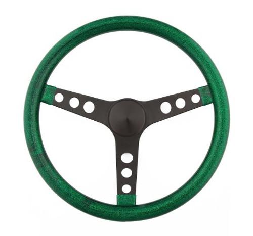 Grant 8452 Steering Wheel Mtl Flake Green/Spoke Blk 13.5
